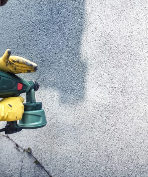 melbourne paint painting a grey wall, renovating exterior walls of new house